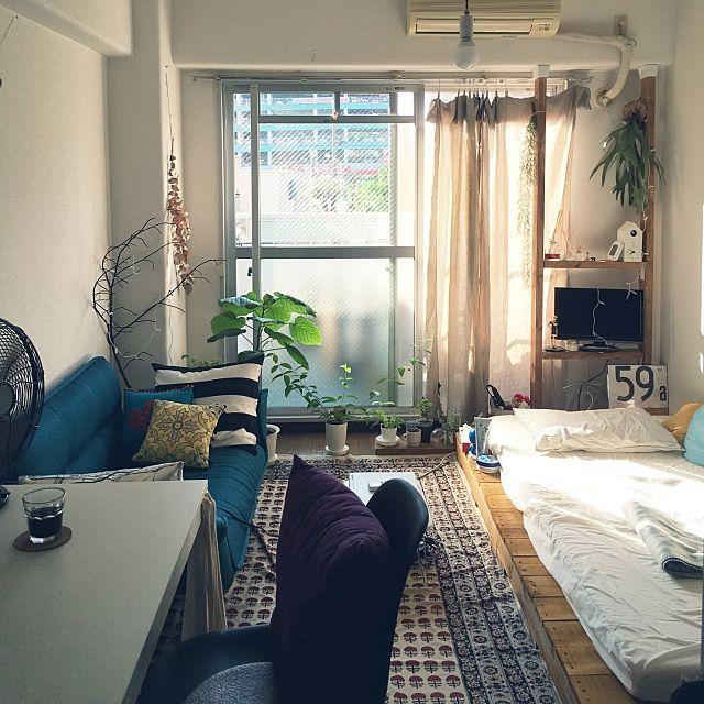 部屋全体 賃貸アパート Diy アイスコーヒー 一人暮らし などのインテリア実例 2016 07 29 07 55 56 Roomclip ルームクリップ 小さなアパートの寝室 インテリア 家具 インテリア
