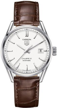 Tag Heuer men watches : Tag Heuer Carrera auytomatic Silver Dial Brown Leather Mens Watch WAR211BFC6181 - best gold mens watches, mens watches in usa, mens automatic watches