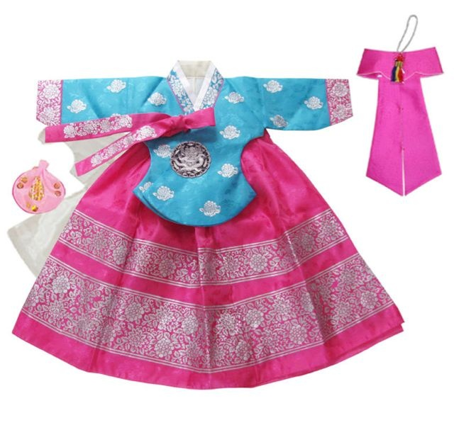 Girl's First Birthday Hanbok in Pink and Blue $124.99