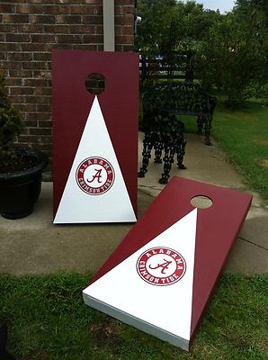 "Crimson & white ""V"" Alabama Crimson Tide Cornhole Boards"