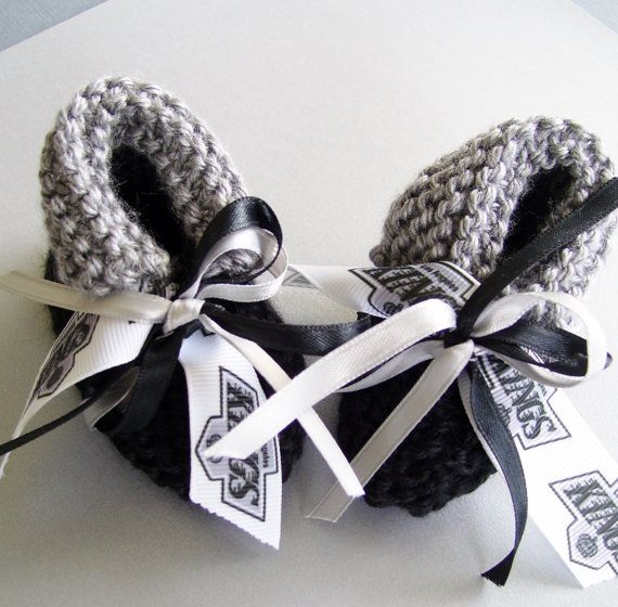 Los Angeles KINGS Hockey Fans Handmade Baby Booties by ZZsTeamTime, $10.00