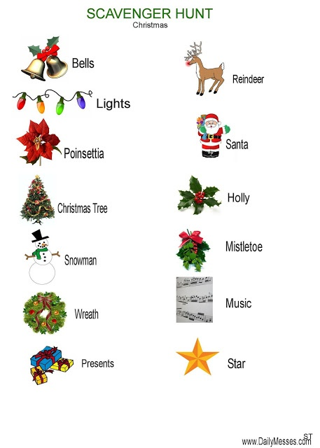 Daily Messes Christmas Scavenger Hunt Activities