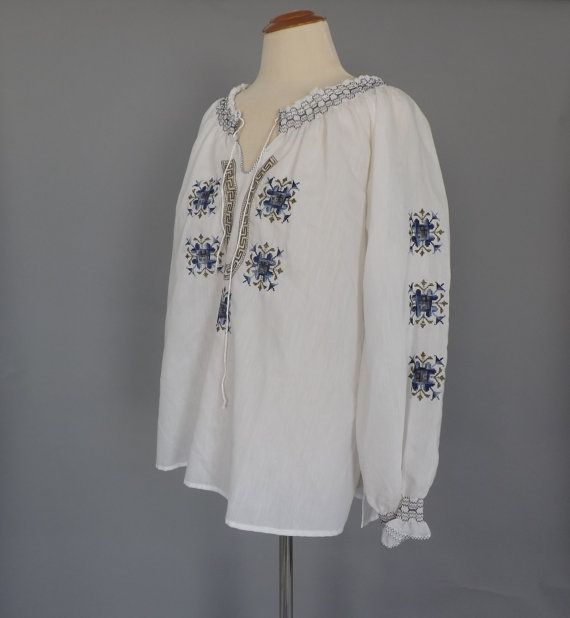 Greek Embroidered Peasant Blouse 120