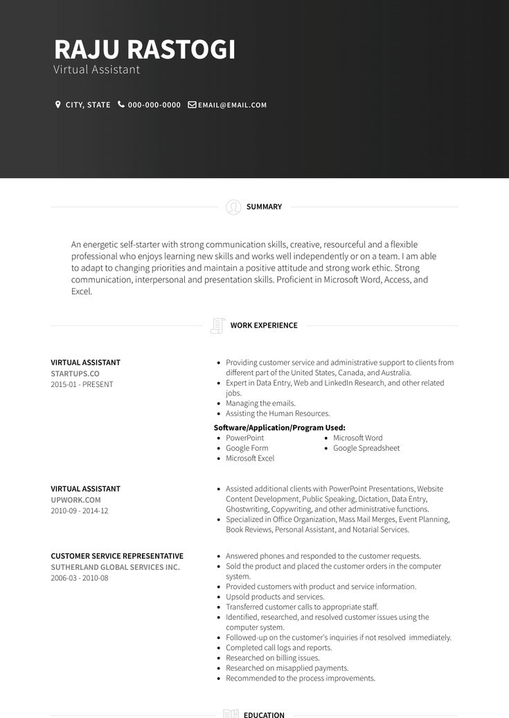Virtual assistant resume samples and templates