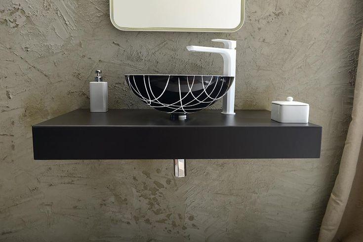 MURANO LINEA skleněné umyvadlo kulaté 40x14 cm, černá/bílá, SAPHO E-shop