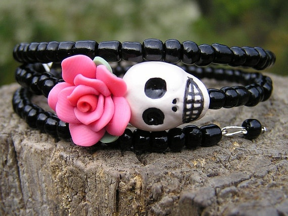 Day of the Dead Bracelet on Etsy. This shop has a bunch more to choose from.