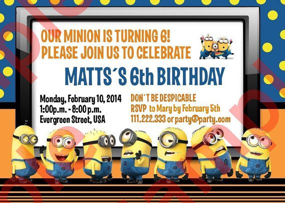 Minion Birthday Invitation Digital File by MarbleAndPaper on Etsy, $7.90