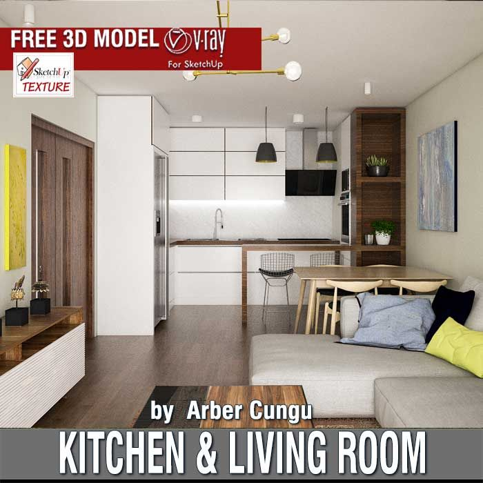 Last free sketchup 3d model kitchen living room for Kitchen room model