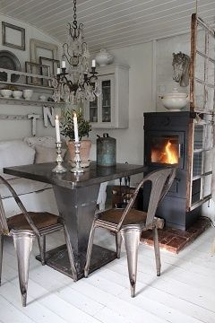 this cozy space mixes Antique with (modern) Industrial Vintage Chic Who knew the two would mix so well. I really like this. - MyHomeLookBook...