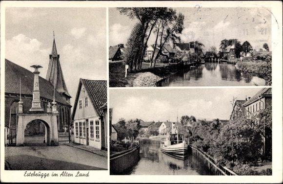 Ansichtskarte / Postkarte Estebrügge Jork im Alten Land im Kreis Stade, Denkmal, Kanal, Boot   akpool.de