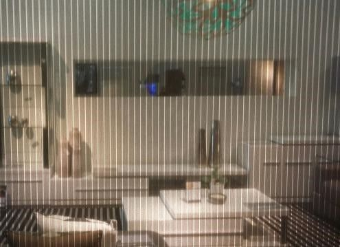 Prelude Onyx blind fabric being used as a room divider in the Gainsville showroom