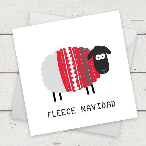"Christmas Card Sheep ""Fleece Navidad"" – Card for Girlfriend – Card for Boyfriend – Xmas card – Funny Christmas Card – Christmas gifts #ChristmasCard #…"