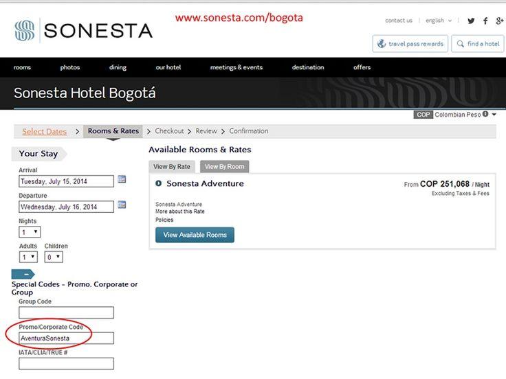 Ingresa a http://www.sonesta.com/bogota y en el momento de realizar la reserva online digita AventuraSonesta y accede a grandes BENEFICIOS