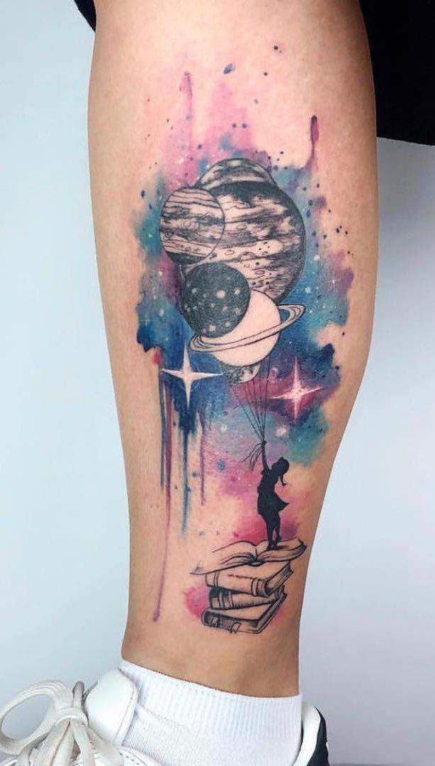 galaxy watercolor tattoo © tattoo artist Yeliz Ozcan ...