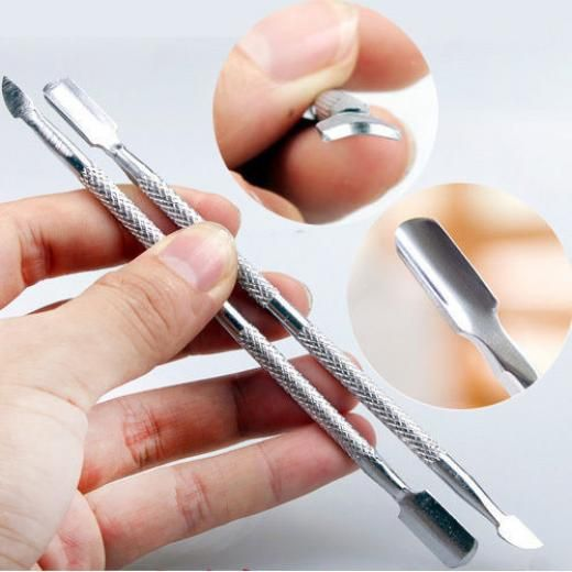 New Stainless Manicure Nail Cuticle Pusher Spoon Remover Pedicure Care Cleaner Steel China Silver