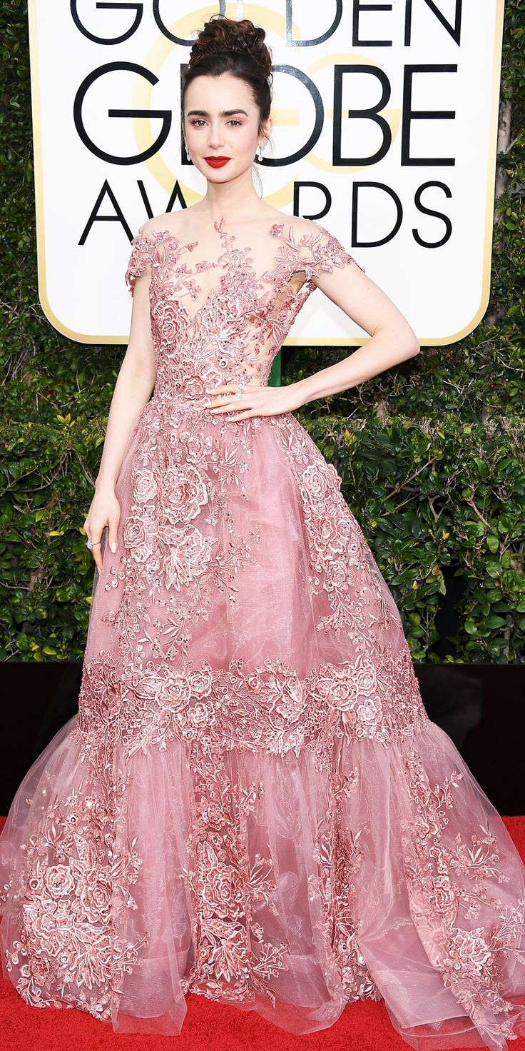 LILY COLLINS Lily Collins in Zuhair Murad and Harry Winston jewels. - All the Glamorous Looks from the 2017 Golden Globes Red Carpet - Lily Collins from InStyle.com