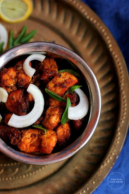 Chicken 65 - The famous South Indian appetizer..!! Chunks of chicken marinated in sizzling masala and deep fried!! Hot and yum!!