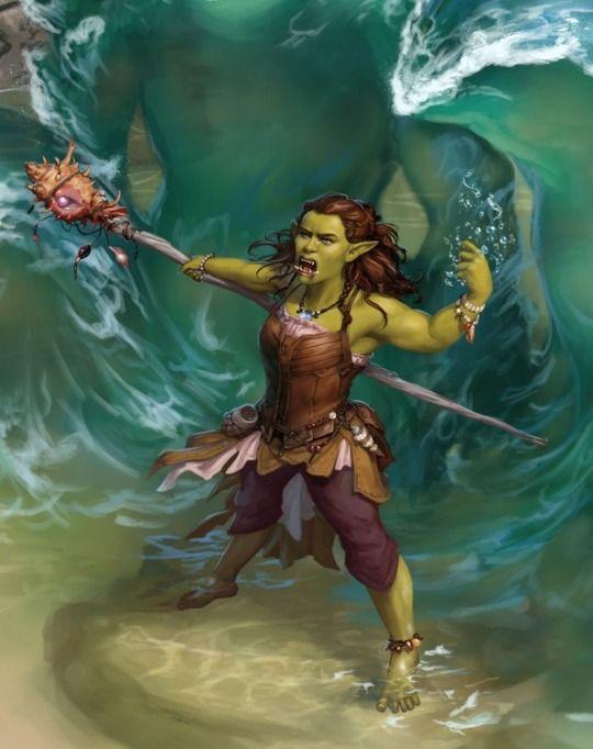 Female orc water shaman - RPG Female Character Portraits