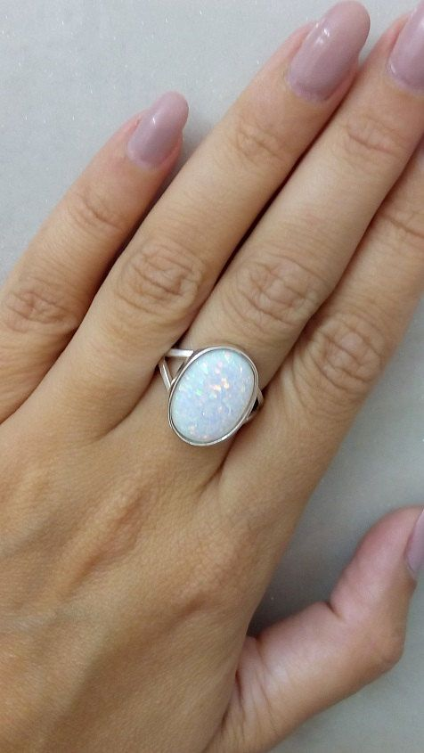 SALE Opal ringwhite opal ringstatement oval by candybohojewelry