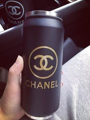 Chanel Coffee Tea Mug w/ Lid. Enjoy your morning coffee with this unique mug. Use the Tight fit lid to seep tea and help keep beverage warm.  NOT SOLD IN STORES!!!  ALSO AVAILABLE IN BLACK  Comes with generic gift box. (Dents on outer Package B...
