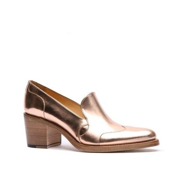 Miss Jane Loafer The Office of Angela Scott found on Polyvore featuring polyvore, women's fashion, shoes, loafers, loafers moccasins, rose gold shoes, high heeled footwear, high heel loafers and rose gold loafers