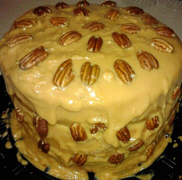Homemade Caramel Cake w/ Whole Pecans