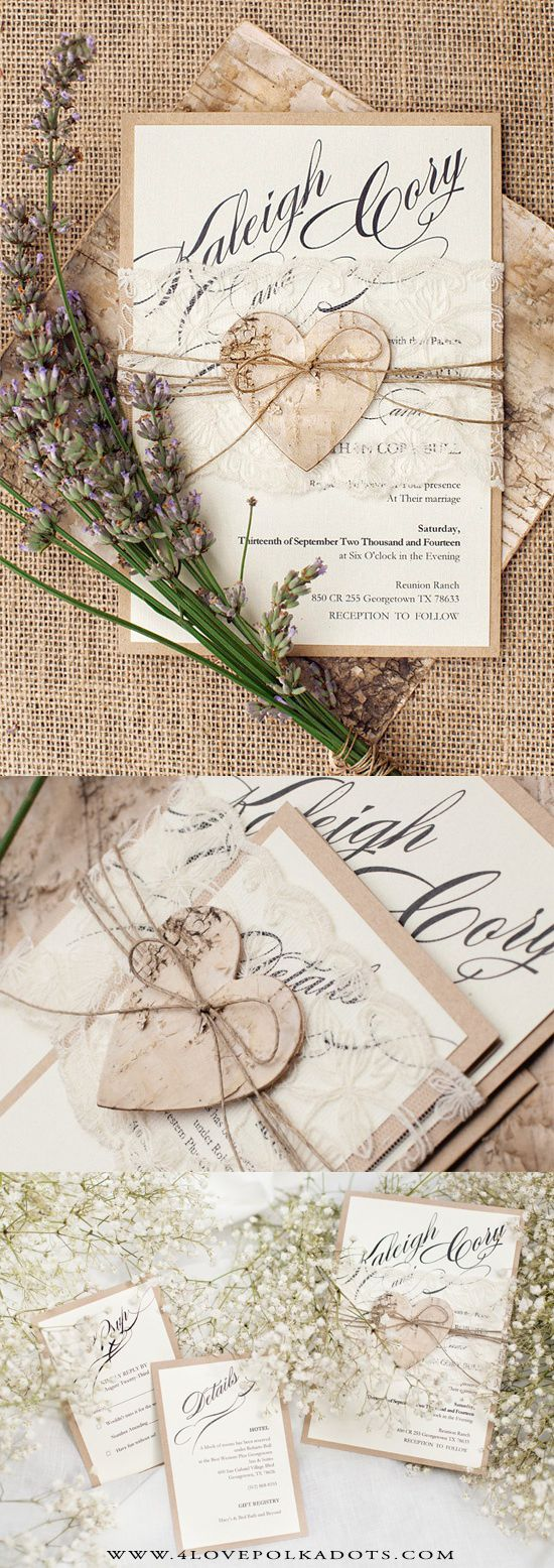 Romantic Rustic Wedding Invitation Lace & Birch Bark Heart #countrywedding #rustic #handmade