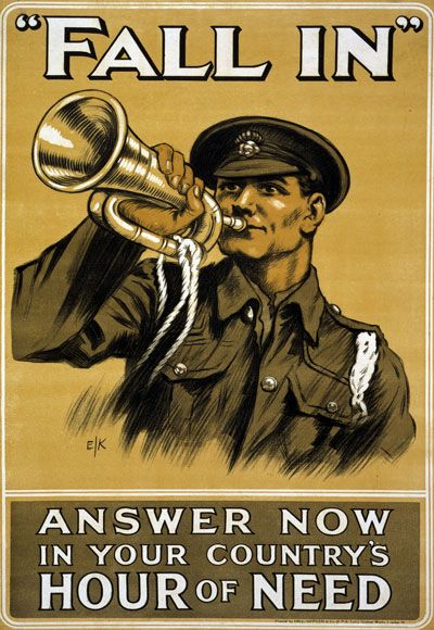 """WWI """"Fall In"""" British Army War Recruitment Poster"""