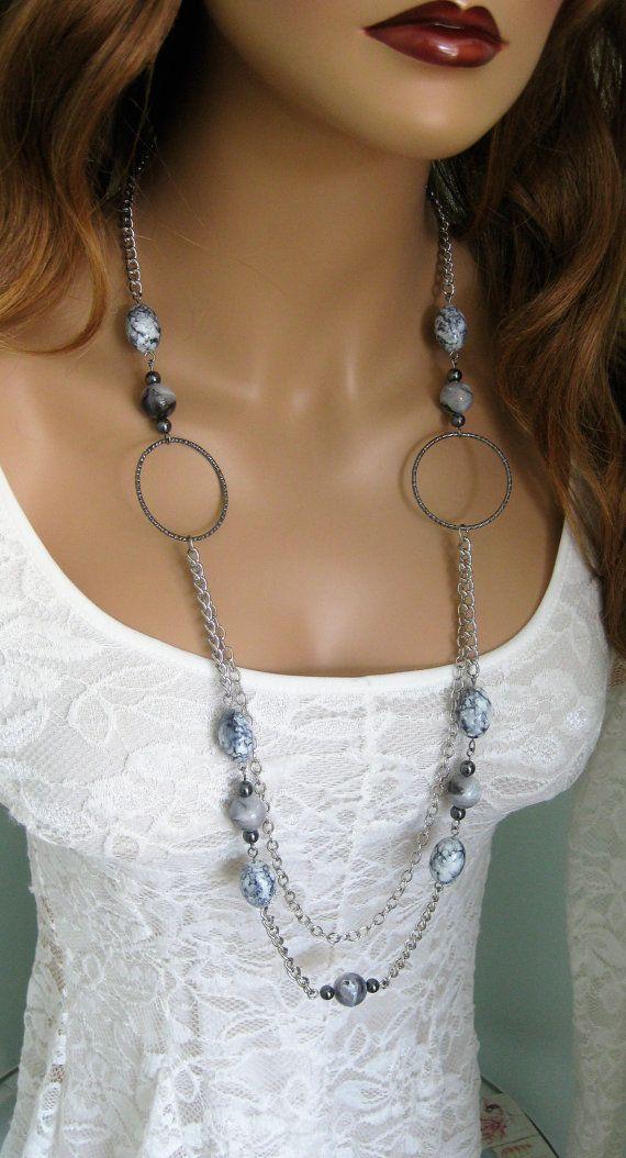 Long Grey Chunky Beaded Necklace, Multi Strand Silver Chain Necklace, Grey Necklace, Beaded Necklace