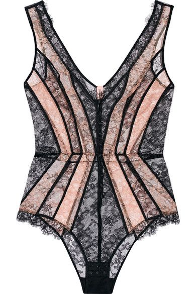 Black and peach stretch-Leavers lace Button fastenings along front, snap fastenings at base 100% polyamide; trim1: 55% viscose, 45% polyamide; lining: 100% cotton Hand wash