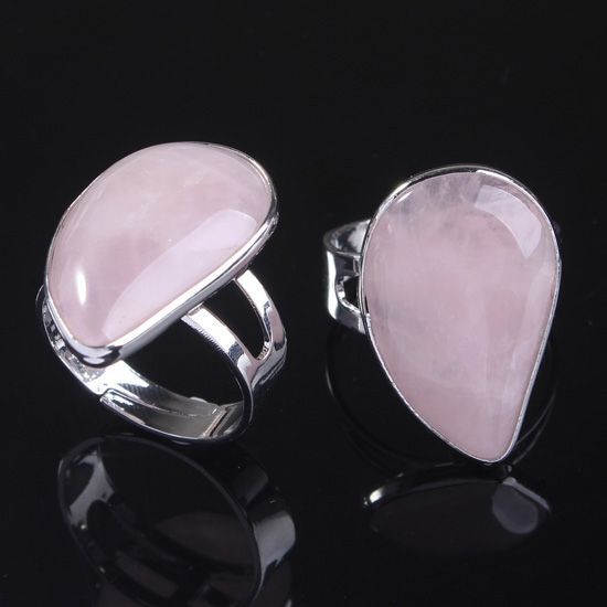 UMY New Stylish Silver Plated Resizable Water Drop Ring Natural Pink Quartz Ring Fashion Jewelry