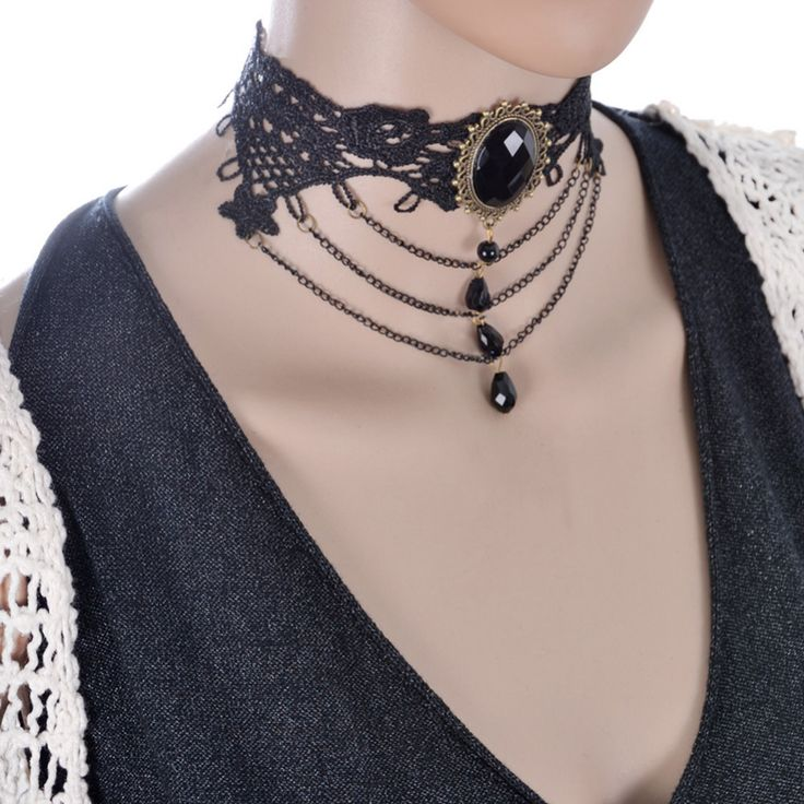 3 types new Vintage Steampunk Necklace Black Lace Beads Rhinestone Choker Collar Necklace Gothic Jewelry for women wedding party