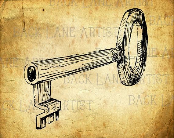D Line Drawings Key : Vintage skeleton key clipart lineart by backlaneartist on