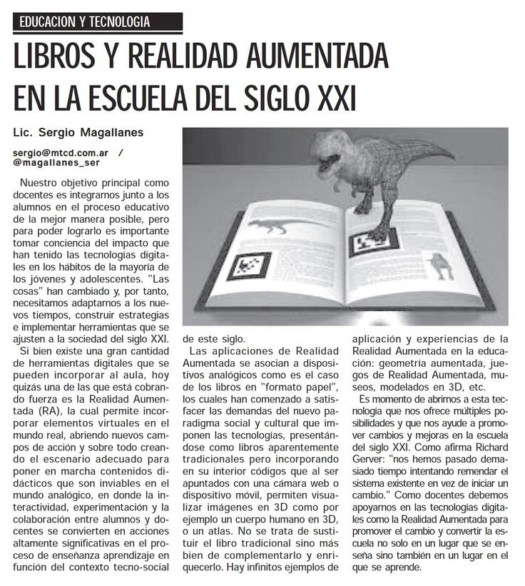 Artículo sobre :libros y realidad aumentada en la escuela del siglo XXI #RA # EDUCACIÓN