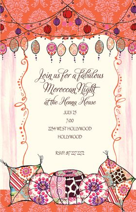 A moroccan design with bright colors of orange and purple with a design of pillows and lanterns created to perfect scene.  this invitation can be used for a moroccan themed outdoor party, a fun birthday party them and many others.