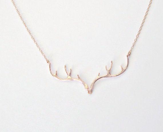 Girlfriend Gift Rose Gold Antler Necklace by vintagestampjewels
