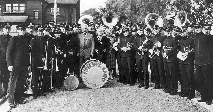 Albert Einstein posing with The Salvation Army band before the Rose Parade in 1931