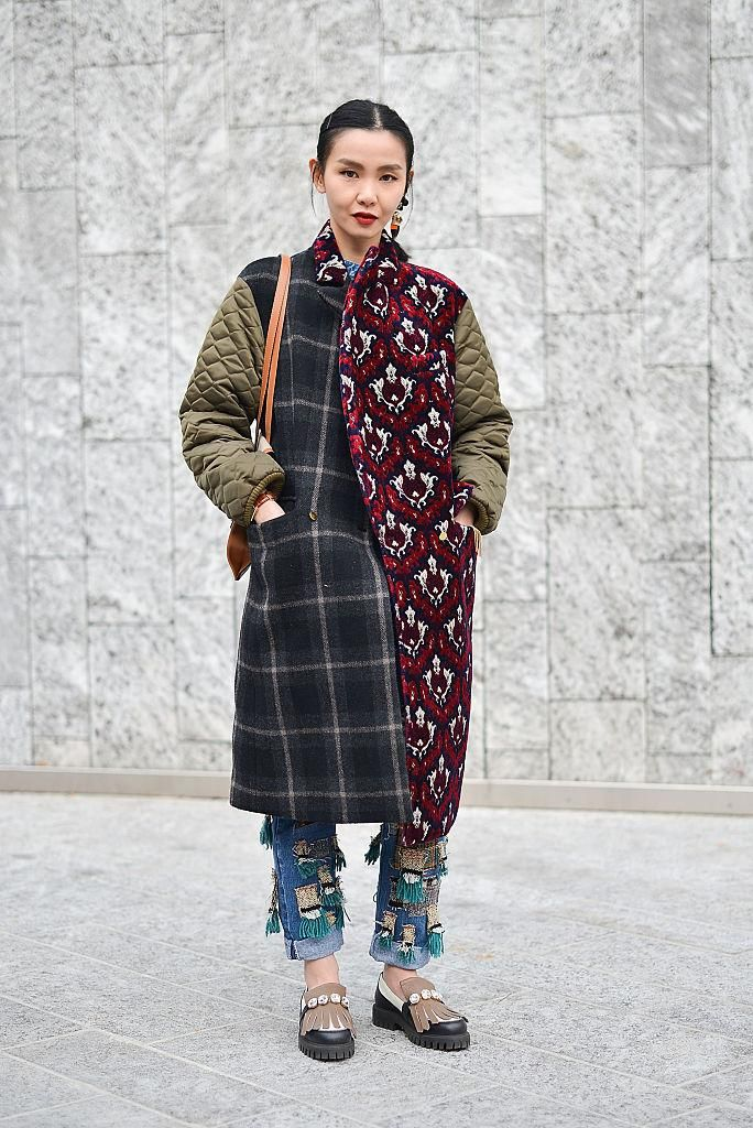 Street Style from Mens Fashion Week Fall 2016 - Loving this statement coat with multiple prints and fabrics