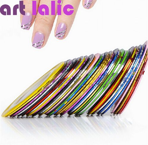 10 unids Striping Line Tape Nail Art Sticker Decoración DIY Tatuajes de Gel UV Acrílico Nail Tips