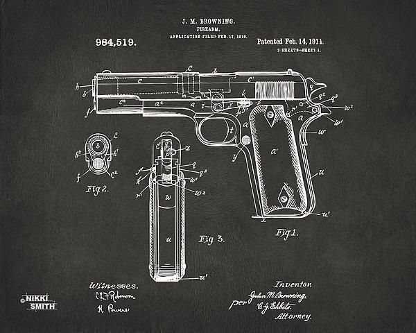 1911 Colt 45 Browning Firearm Patent Artwork Copyright Nikki Smith, All Rights Reserved. (pins OK) This artwork is inspired by vintage US patents of famous inventions, in this case a 1911 Colt 45 Browning Firearm Patent, perfect for gun enthusiasts or the man who has everything. Fine art prints in metal, canvas, paper, and acrylic available in a variety of styles including blueprint, vintage, gray and red here, along with related artwork: http://nikkimarie-smith.artistwebsites.com