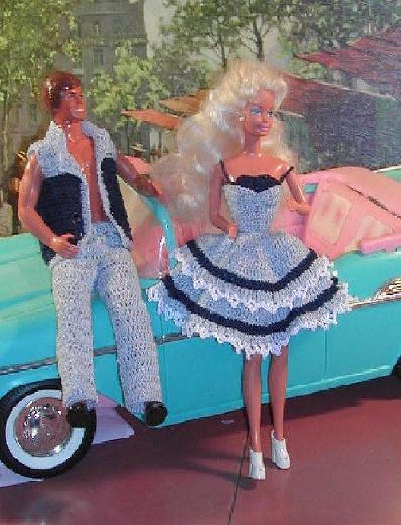 Crochet mode poupée Barbie et Ken motif  159 par JudysDollPatterns