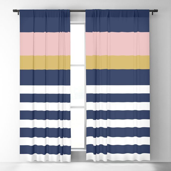 Graduated Stripes In Navy Blue Blush Pink Mustard Yellow And White Minimalist Color Block Design Blacko Curtains Yellow And Blue Blackout Curtains Curtains