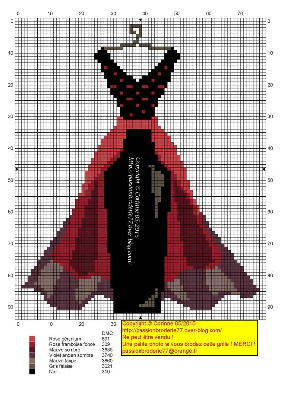 Dress pattern / chart for cross stitch, crochet, knitting, knotting, beading, weaving, pixel art, and other crafting projects