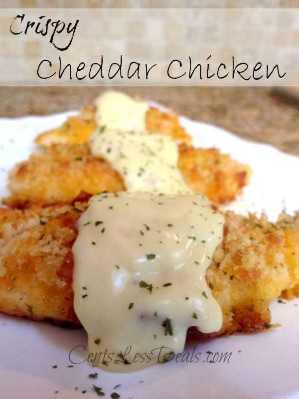 Crispy Cheddar Chicken recipe. I had all the ingredients in the pantry and decided to try it because it was so simple and oh em gee...delish!! The whole family loved it, I'm definitely adding this to my fav pinterest recipe file!!