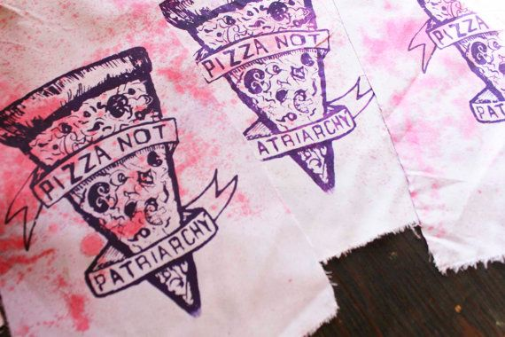 Pink and Purple TIE DYE Pizza NOT Patriarchy Back Patch