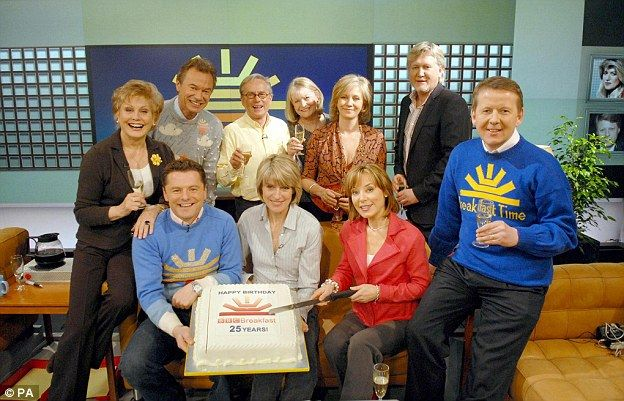 BBC Breakfast presenters past and present celebrating the programme's 25th Anniversary, including (Left to Right) Angela Rippon, Francis Wilson, Chris Hollins, Glyn Christian, Selena Scott, Sue Cook, Sian Williams, Mike Smith and Bill Turnbull