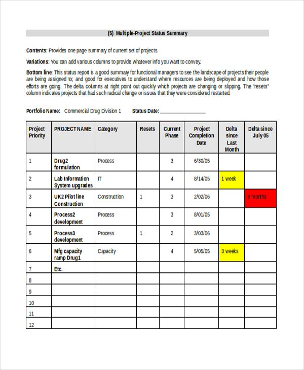 Project List Templates 10 Free Printable Word Excel Pdf
