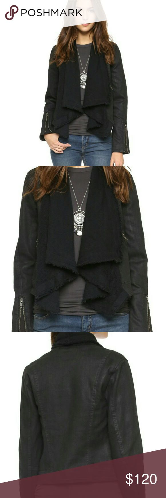 Free People Jacket NWT Free people black comb jacket with frayed shawl. New with tags. Size 2. Fits medium/large. Reasonable offers welcome Free People Jackets & Coats