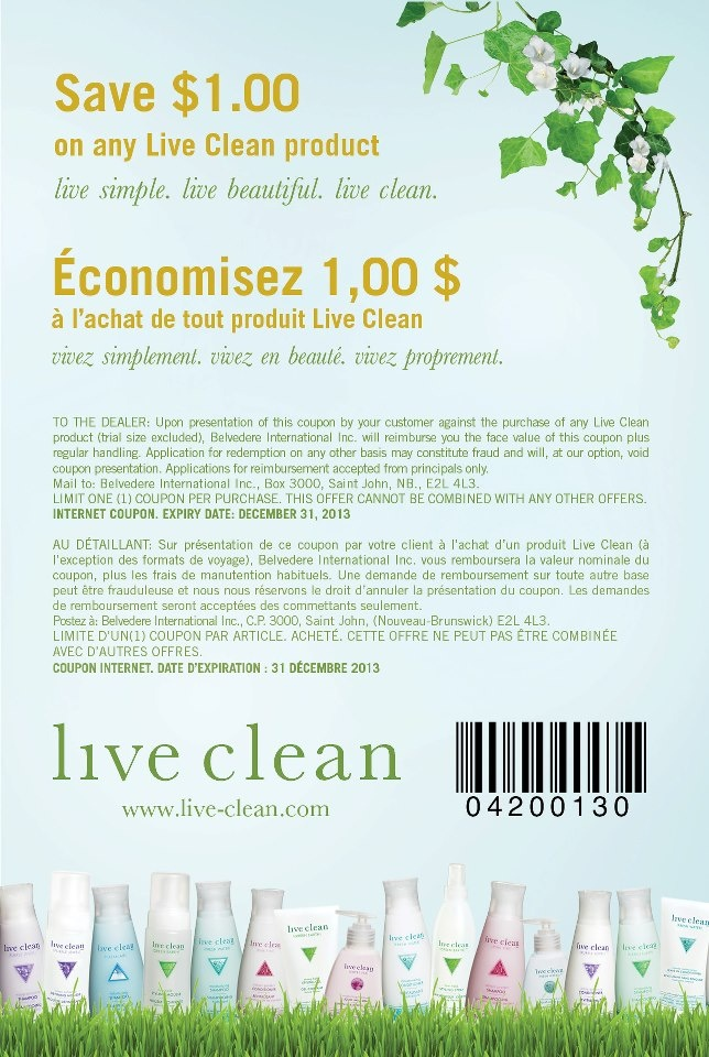 Save $1.00 on any Live Clean Product (they carry fragrance-free lotion & fragrance-free baby non-petroleum jelly) Follow link to print proper coupon #scentfree #canada