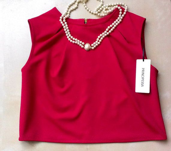 Red Crop Top Cotton Crop Top Red Summer Top by PrincipessaLabel, $40.00